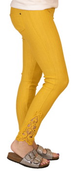 Simply Southern Lace Jeggings - Mustard