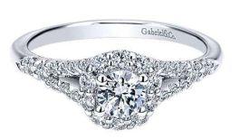 Ladies 14K Gabriel & Co. White Gold Engagement Ring - .3Ct - Size 6.5