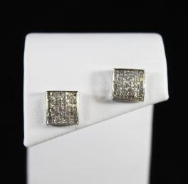 10K White Gold Micro Pave Diamond Stud Earrings - 1Ct