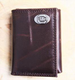 USC Brown Wrinkle Tri-Fold Wallet