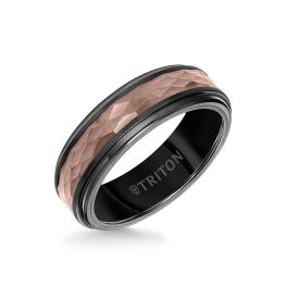 Men's 7mm Black/Expresso Tungsten Carbide Ring with Hammered Center