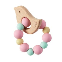 Pink Chick Wood & Silicone Teether