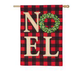 Noel Wreath House Linen Flag