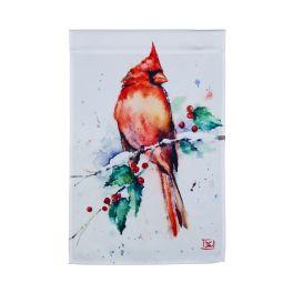 Cardinal And Holly Garden Flag