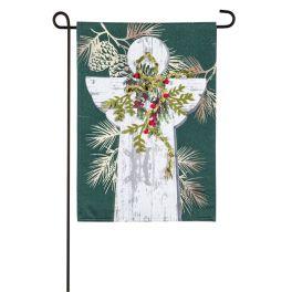 Woodgrain Angel Garden Linen Flag