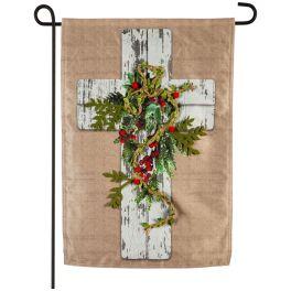 Woodgrain Cross Garden Linen Flag