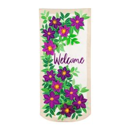 Clematis Welcome Everlasting Textile Flag