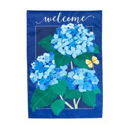 Hydrangea Blossoms Applique House Flag