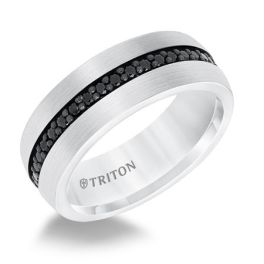 Comfort Fit Tungsten Band With Black Sapphires - 8mm