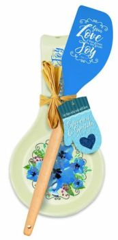 Blue Joy Spoon Rest & Spatula Gift Set