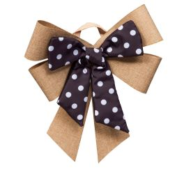 Black and White Dot Door Tag Bow