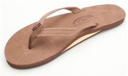 Ladies X-Large Dark Brown Narrow Strap Rainbow Sandals