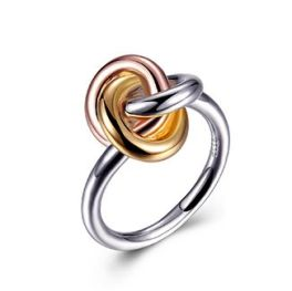 Elle Sterling Silver Tri Color Love Knot Ring - Size 7