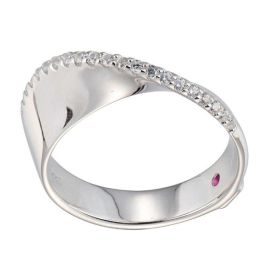 Elle Sterling Silver Sleek CZ Ring - Size 7