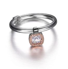 Elle Sterling Silver 2-Tone Cushion CZ Drop Ring - Size 7
