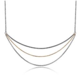 Elle Sterling Silver Waterfall 2-Tone Necklace