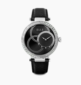 Elle Black Strap Watch
