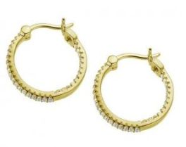 Elle Sterling Silver Gold Plated CZ Hoop Earrings
