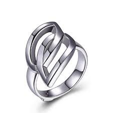 Elle Sterling Silver Deja Vu Interlocking Ring - Size 7