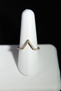 Elle Sterling Silver Gold Plated V Ring - Size 6