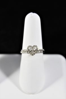 Ladies 10K White Gold Diamond Heart Wedding Set - 1/3Ct - Size 7
