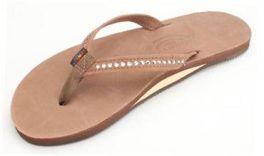 Ladies Size 10 Dark Brown Crystal Rainbow Sandals