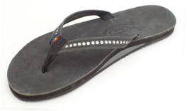 Ladies Size 10 Black Crystal Rainbow Sandals
