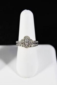 Ladies 10K White Gold Diamond Engagement Set - 3/4Ct - Size 7