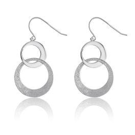 Sterling Silver Alternating Circle Dangle Earrings