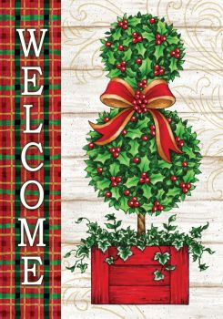 Christmas Topiary House Flag