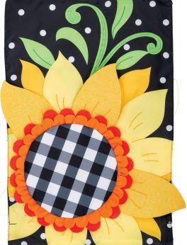 Applique Gingham Sunflower Garden Flag