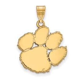 Sterling Silver Gold Plated Clemson University Large Pendant