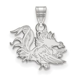 Sterling Silver Rhodium Plated University Of South Carolina Small Pendant