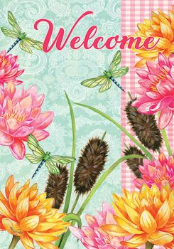 Dragonfly Cattails House Flag