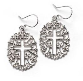 Southern Gates Filigree Open Cross Earrings