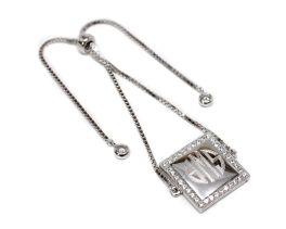 Sterling Silver Engravable Square CZ Adjustable Bracelet