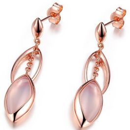 Elle Sterling Silver Rose Plated Chalcedony Dangle Earrings