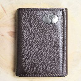USC Brown Leather Pebble Tri-Fold Wallet