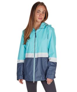 Color Blocked New Englander Rain Jacket - Aqua/White/Navy