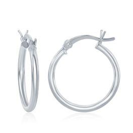Sterling Silver High-Polished Hoop Earrings - 2x25mm