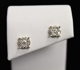 14K Yellow Gold Diamond Stud Earrings - .50CT