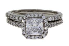 Sterling Silver Cubic Zirconia Princess-Cut Engagement Set