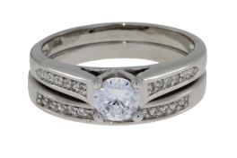 Sterling Silver Round Cubic Zirconia Engagement Set