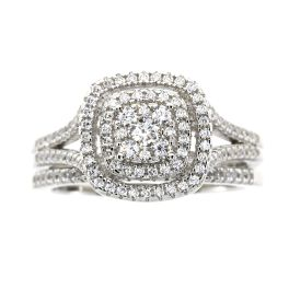 Sterling Silver Double Halo Cubic Zirconia Engagement Set