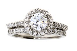 Sterling Silver CZ Round Halo Engagement Set