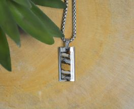 Stainless Steel Mammoth Tooth Rectangular Necklace