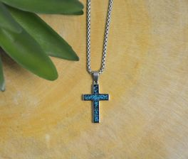 Stainless Steel Turquoise Cross Necklace