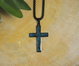 Stainless Steel Medium Turquoise Cross Necklace