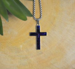 Stainless Steel Medium Box Elder Wood Cross Necklace