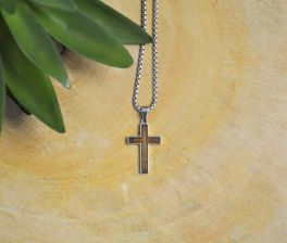 Stainless Steel Small Walnut Cross Necklace